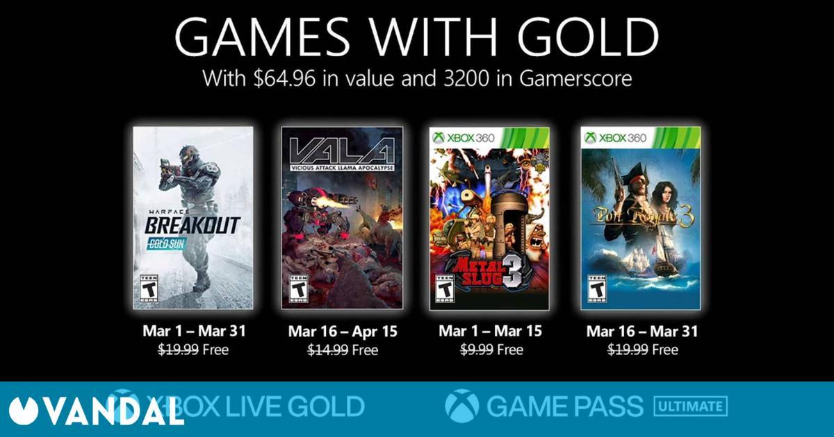 Estos serán los juegos gratis de Xbox Live Gold en marzo de 2021