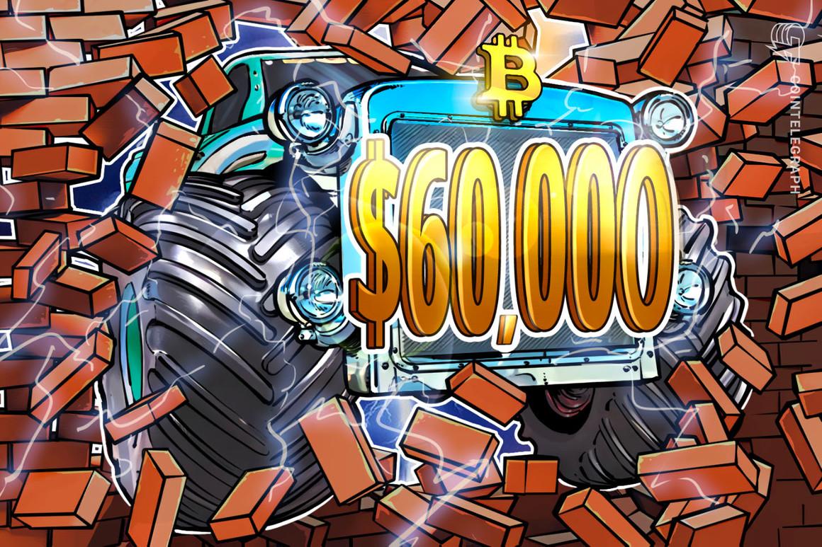 El precio de Bitcoin alcanza los $60,000 después de que los alcistas lograran superar una resistencia clave
