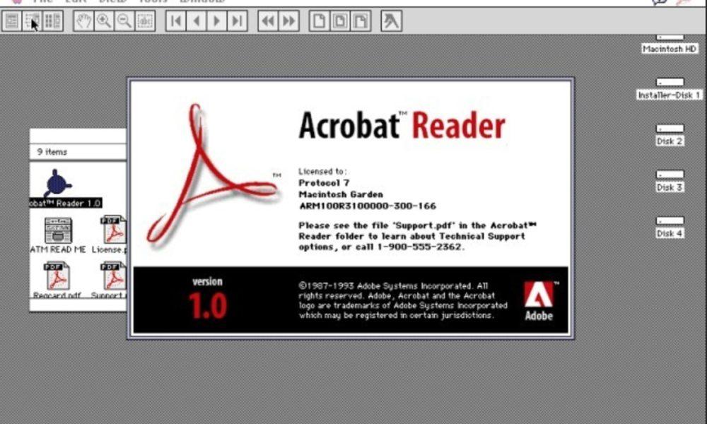 Adobe bloquea a un usuario por compartir un Acrobat Reader 1.0 de 1994