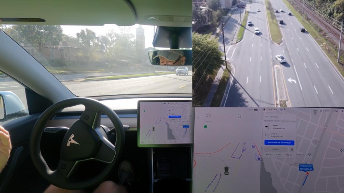 Este Tesla girando a la izquierda sin protección es aterrador