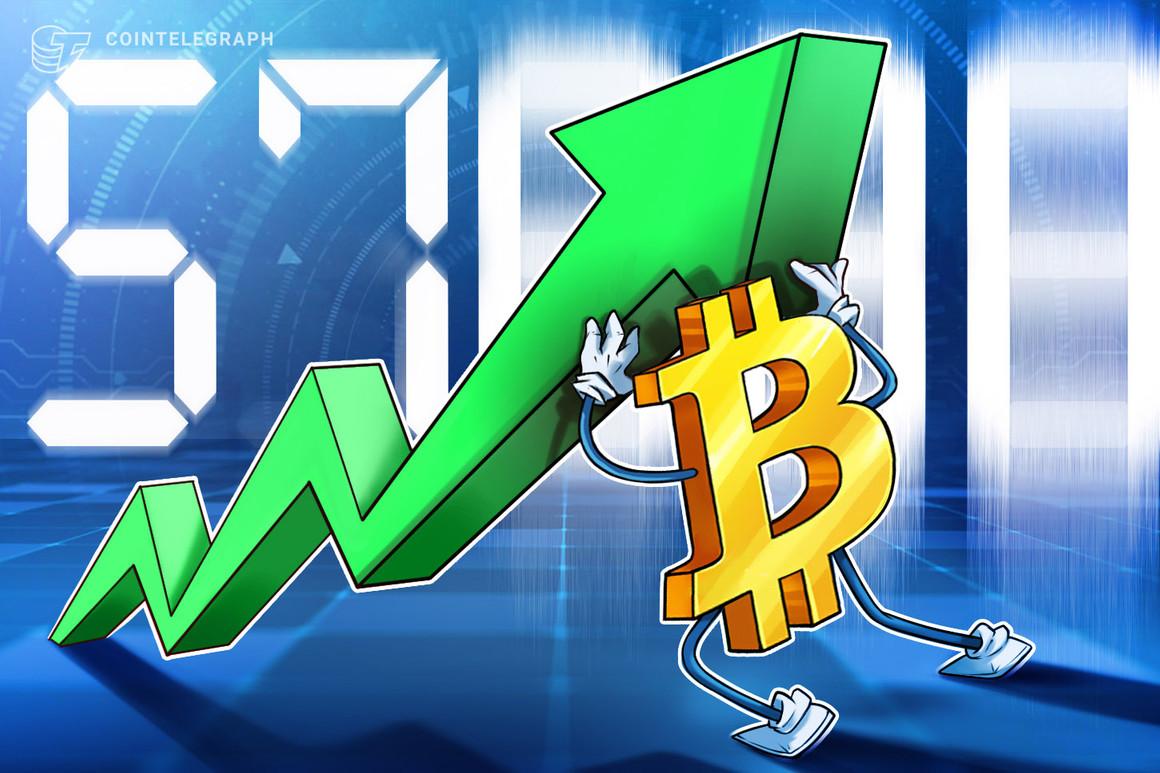 El precio de Bitcoin alcanza los 57,000 dólares en un aumento sorpresa para casi borrar la caída del precio de BTC en abril