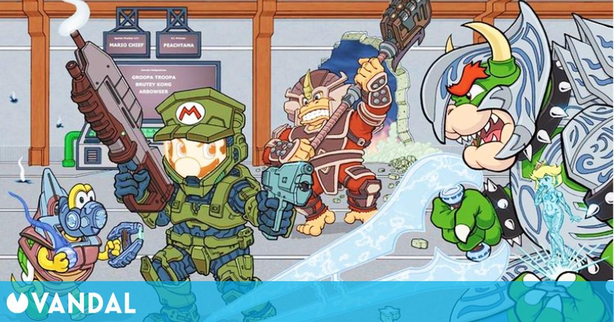 El Instagram oficial de Halo comparte un fan art de Super Mario como el Jefe Maestro
