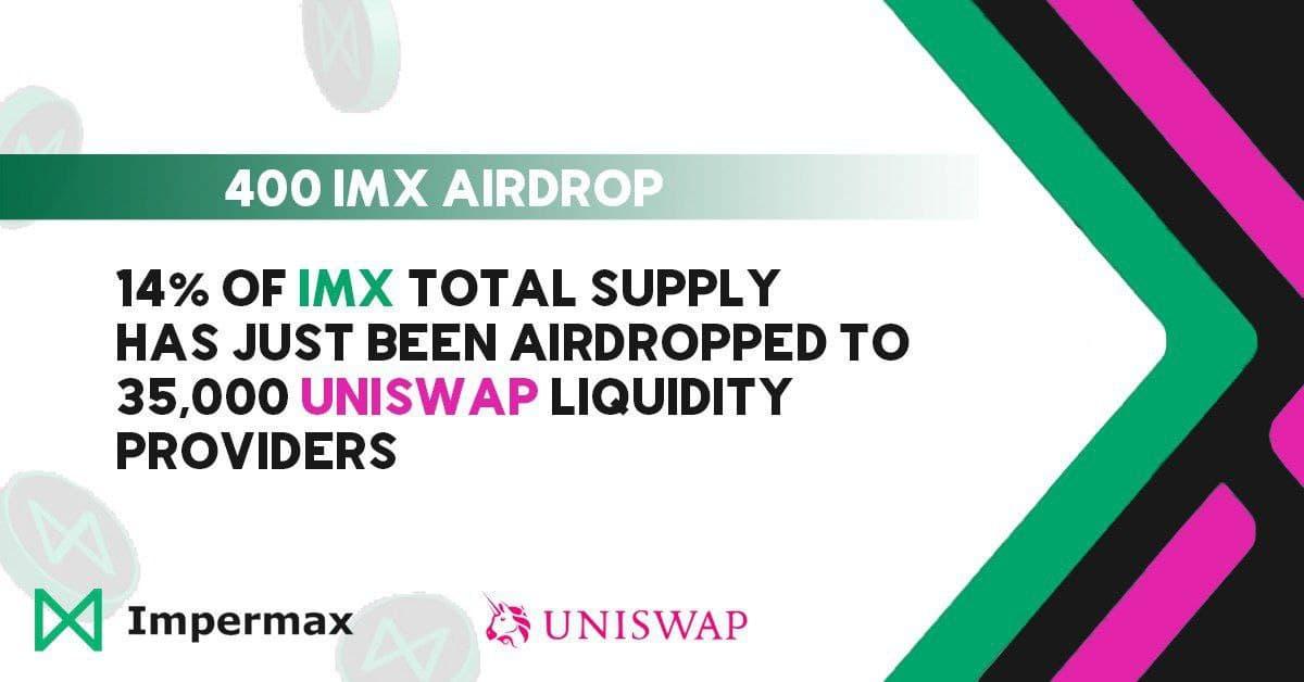 Impermax lanzó 14 millones de tokens IMX a 35,000 proveedores de liquidez Uniswap V2