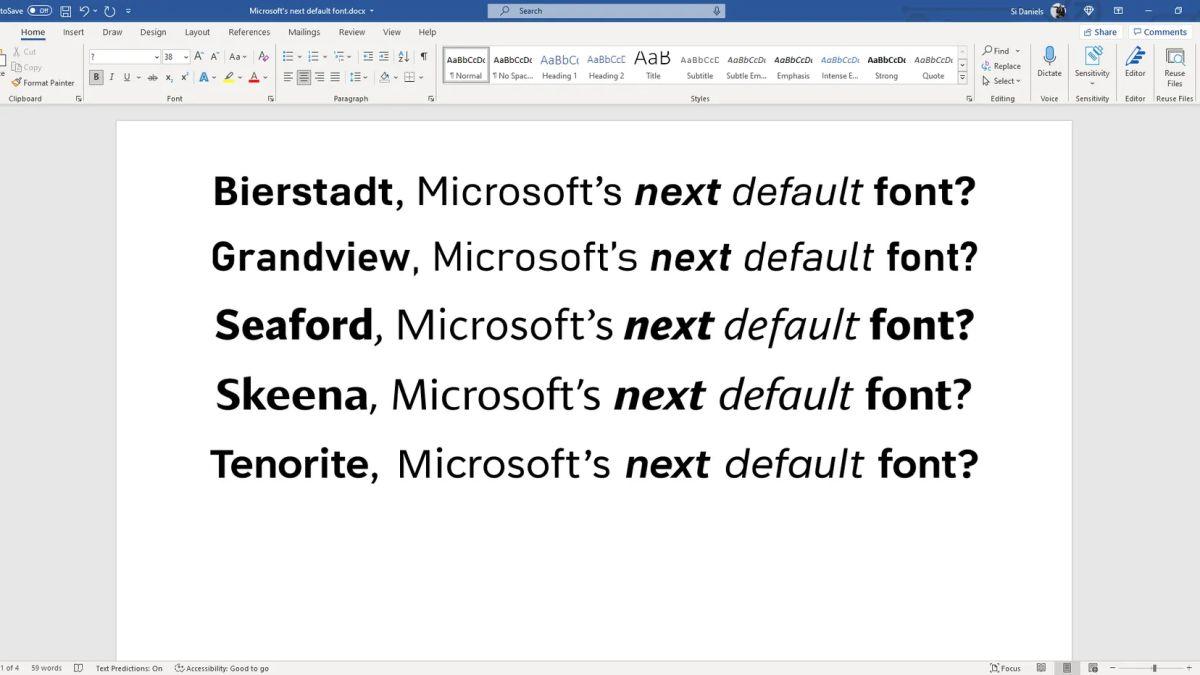 Microsoft pide ayuda para elegir la nueva fuente predeterminada de Office