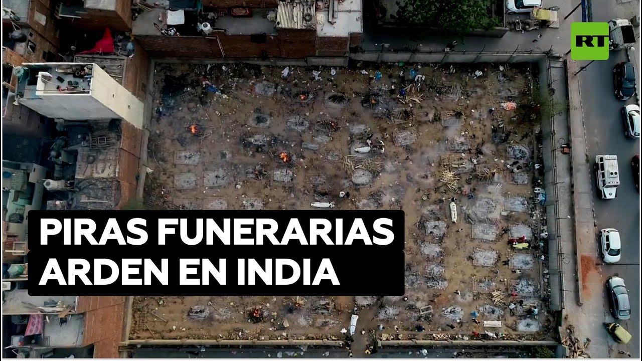 Crean crematorios improvisados para incinerar a los muertos por coronavirus en Nueva Delhi