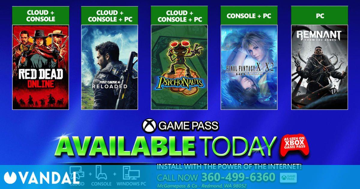 Xbox Game Pass: ya están disponibles Final Fantasy X/X-2, Just Cause 4, Psychonauts y más
