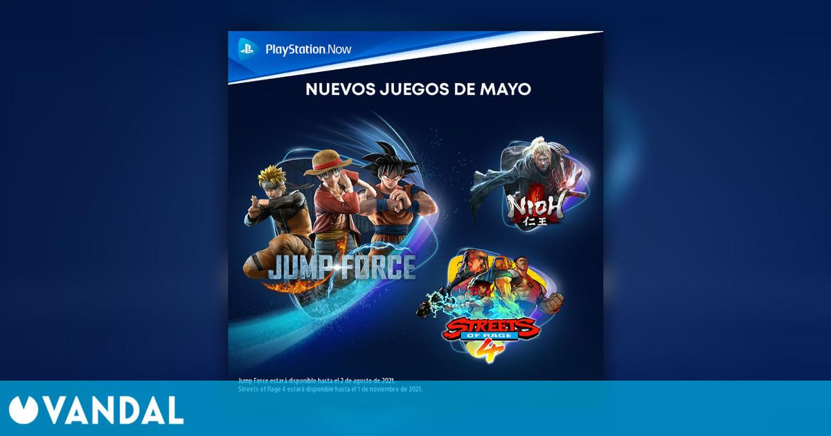 Nioh, Streets of Rage 4 y JUMP Force se unen a PlayStation Now en mayo