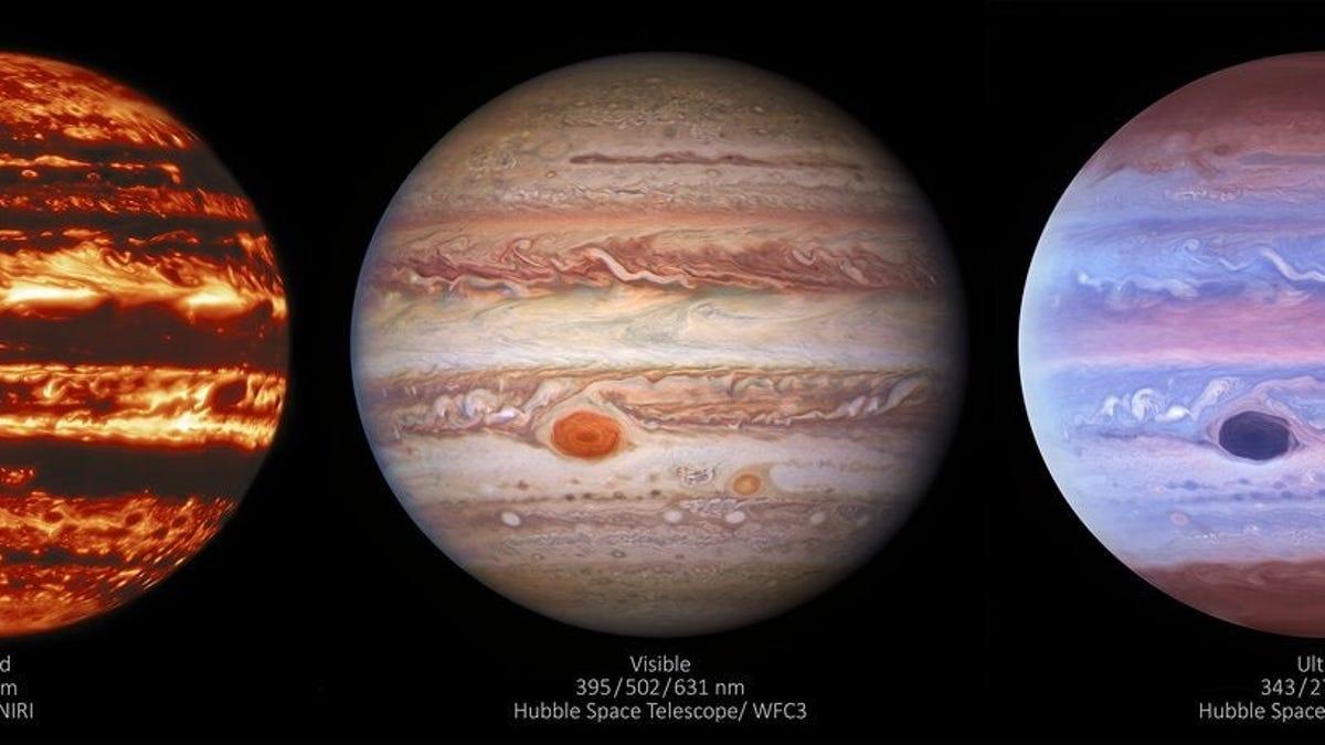 Júpiter parece un lugar sereno en ultravioleta y un lugar absolutamente aterrador en infrarrojo