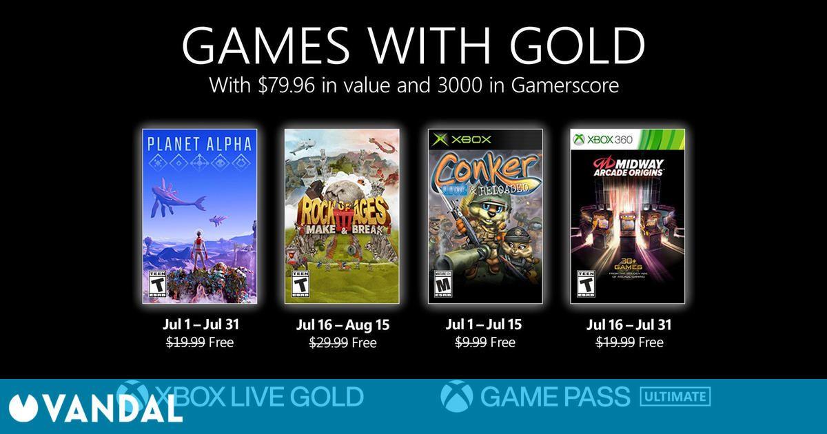 Estos son los Juegos con Gold para julio de 2021