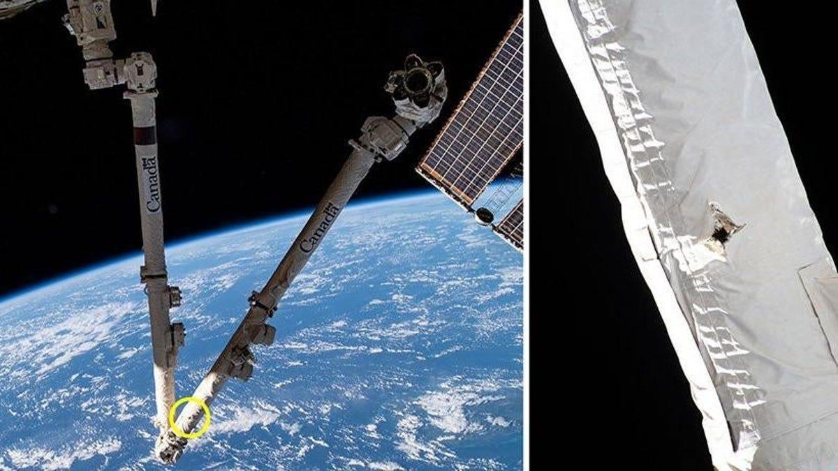 Basura espacial ha hecho un agujero en una herramienta de la EEI