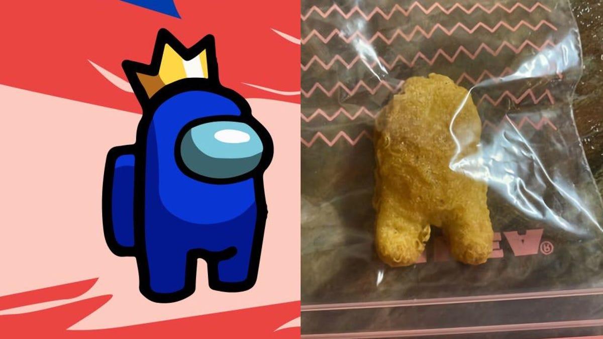 Paga $100000 por nugget pollo que parece personaje de Among Us