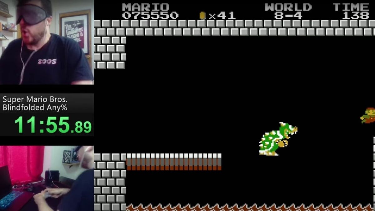 Speedrunner bate el récord en Super Mario Bros vendado