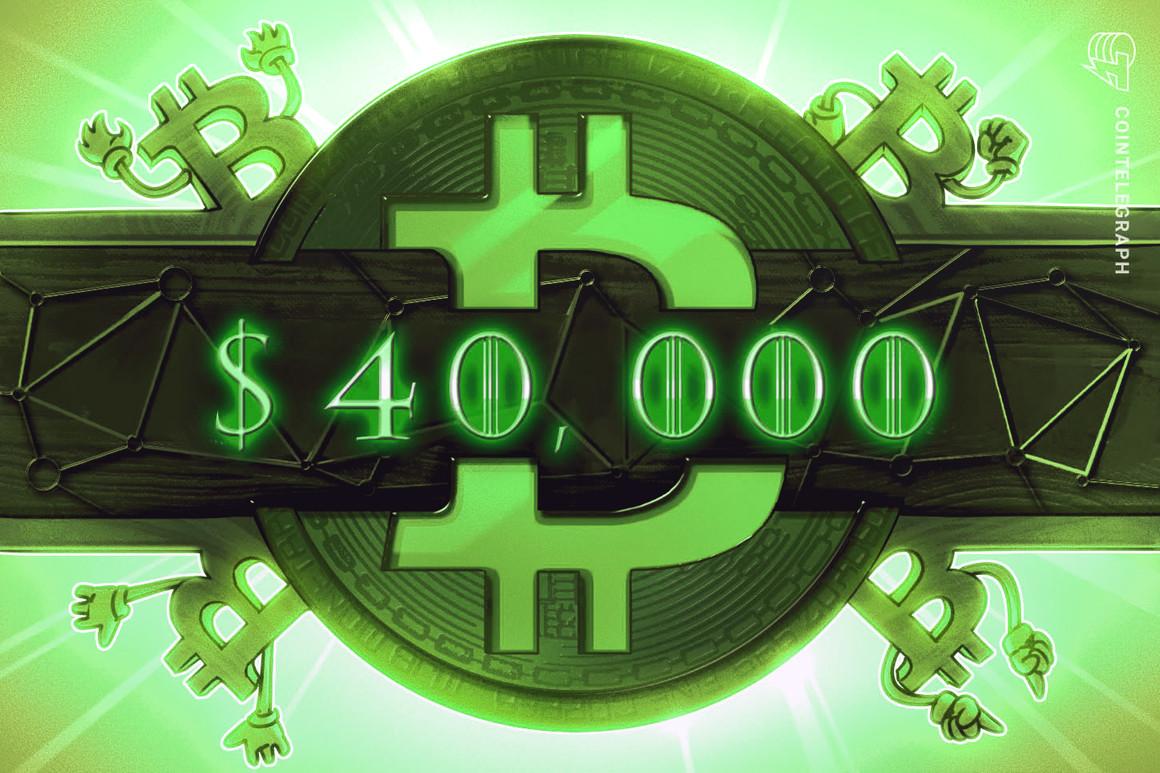Bitcoin alcanza los USD 40,000 tras 6 semanas, pero la actividad on-chain es «algo bajista»