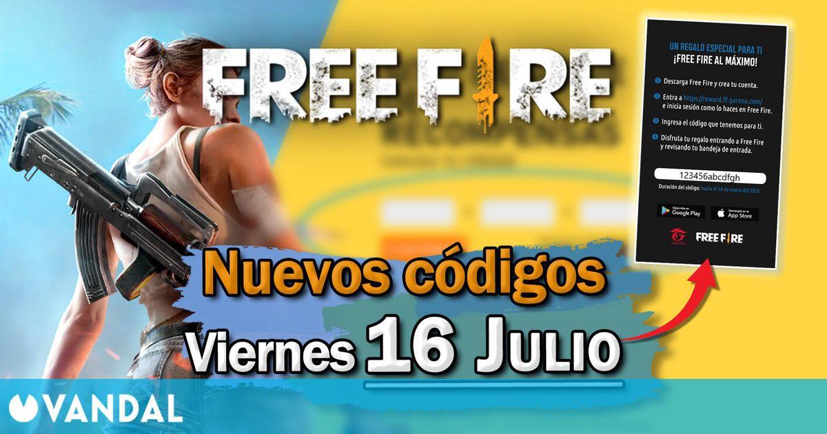 Free Fire: Códigos para hoy viernes 16 de julio de 2021 – Recompensas gratis