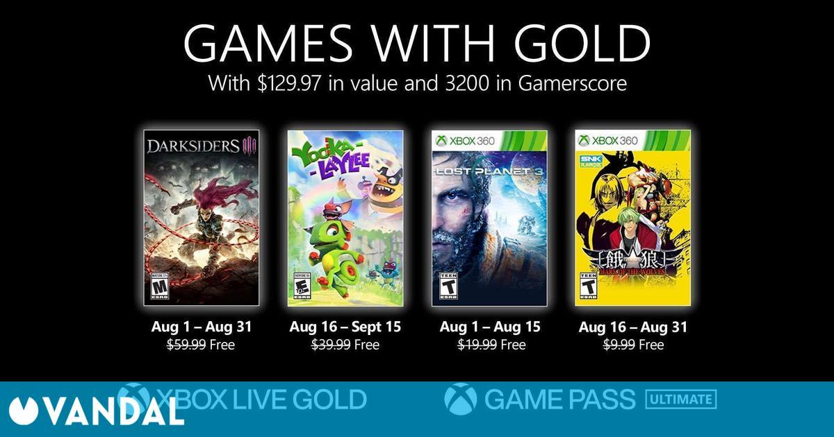 Los Juegos con Gold de agosto son Darksiders 3, Yooka-Laylee, Lost Planet 3 y Garou