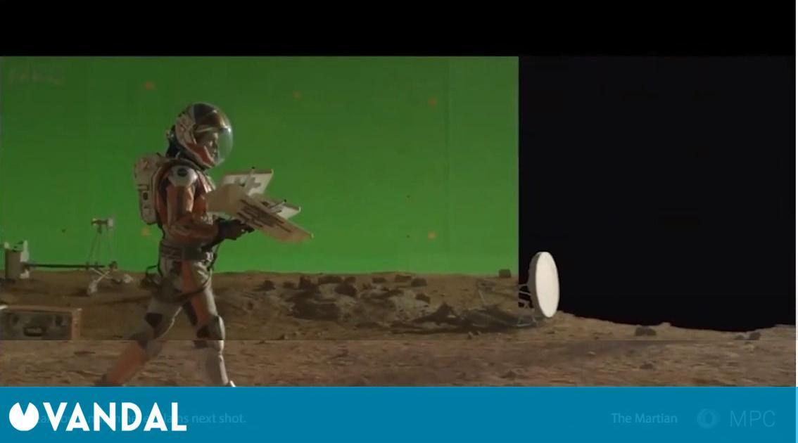 La composición en los efectos especiales cambia el chroma por la producción virtual