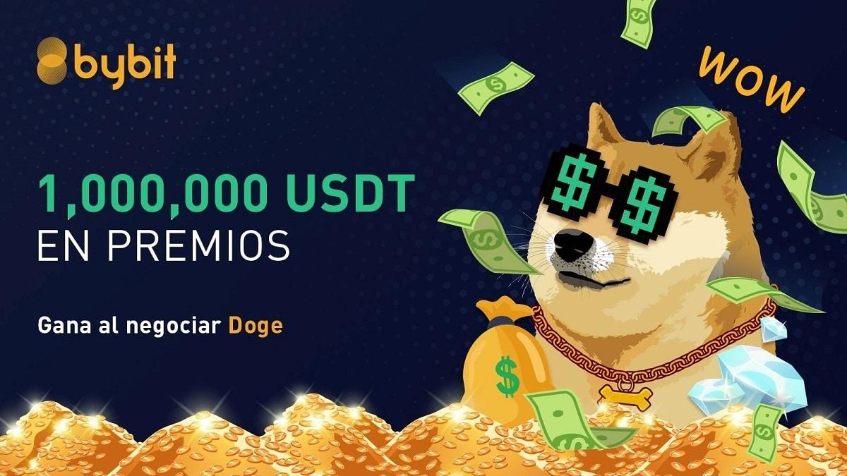 Bybit ofrece 1 millón USDT en premios a usuarios que hagan trading con DOGE