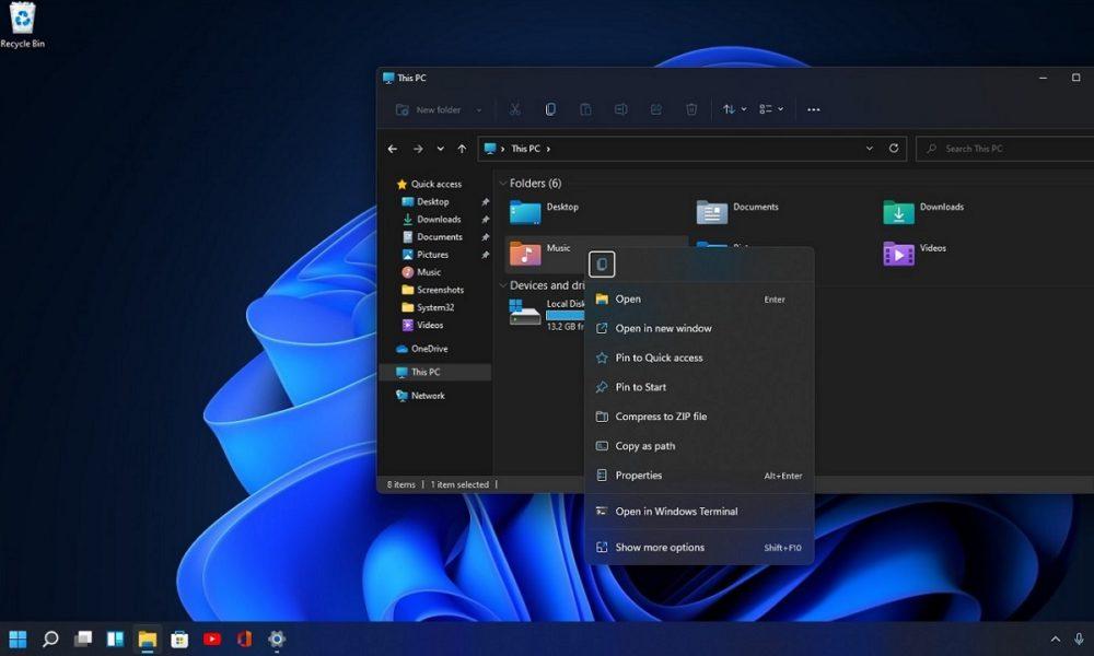 Windows 11 introduce un nuevo clic derecho de ratón