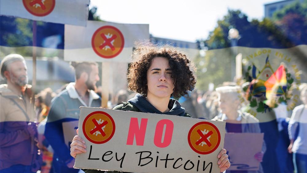 Protestas en El Salvador exigen derogación de la Ley Bitcoin