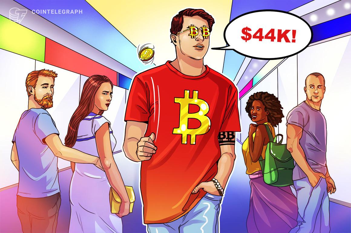 El precio de Bitcoin supera las pérdidas por la caída de mayo y el precio de BTC repunta hasta los USD 44,000