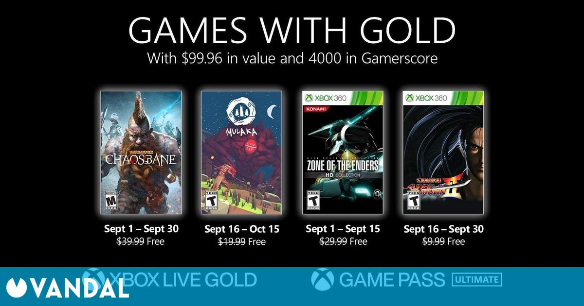 Estos son los Juegos con Gold para septiembre de 2021