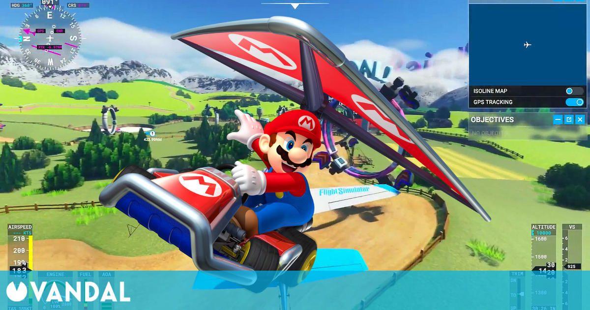 Mario Kart 8 llega a Microsoft Flight Simulator gracias a este mod