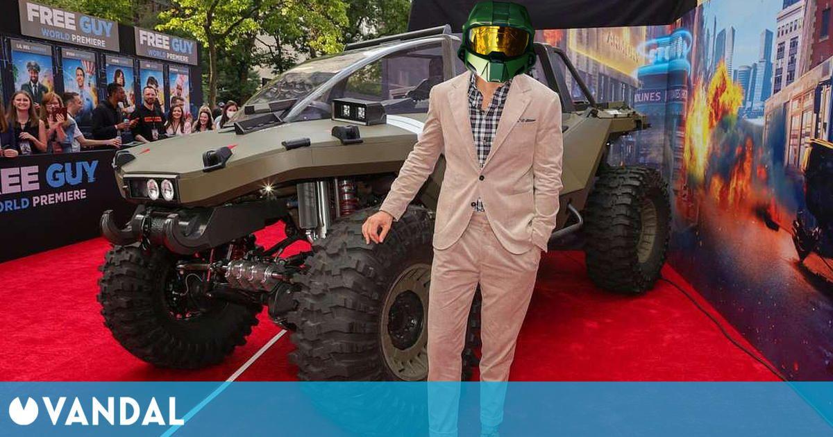 Halo Infinite se cuela en la 'premiere' de Free Guy con un Warthog a tamaño real