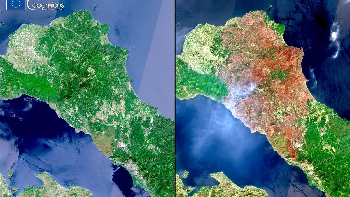Las imágenes por satélite que muestran el infierno que se vive en Grecia