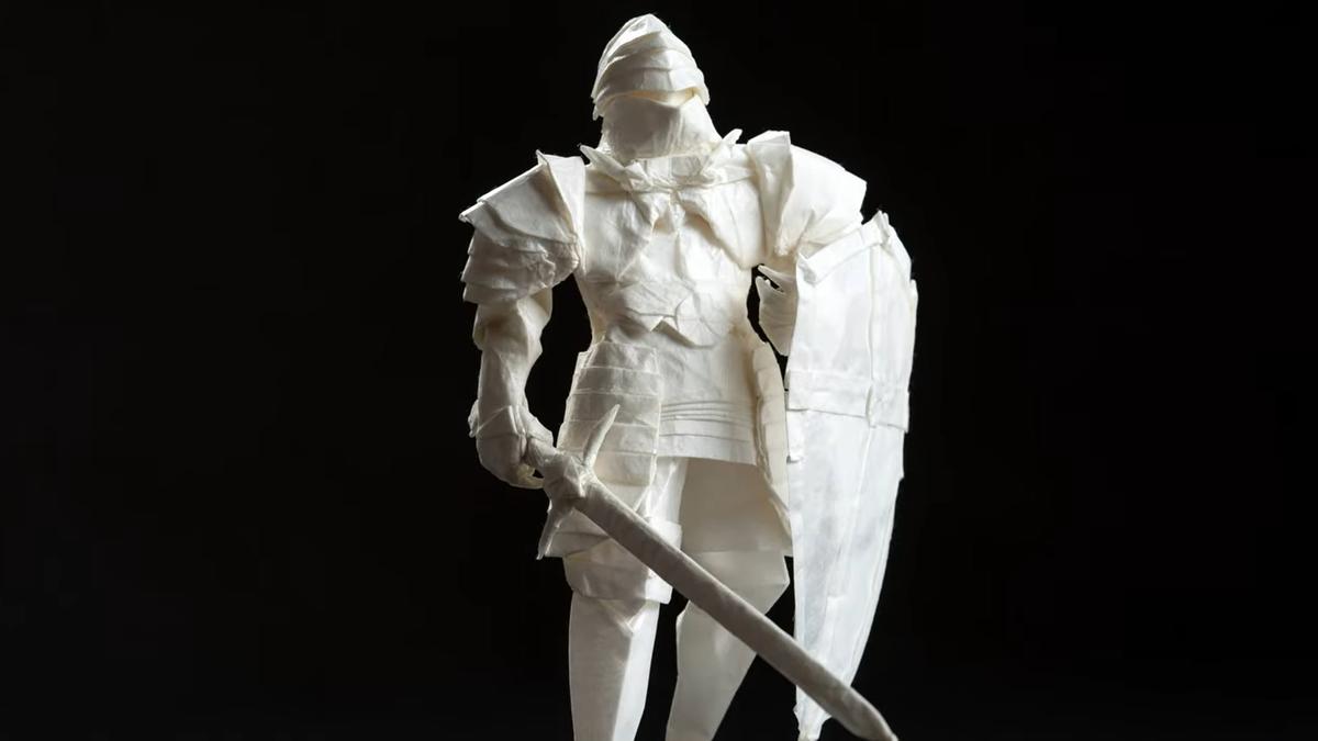 Un caballero medieval de Origami hecho con una sola hoja