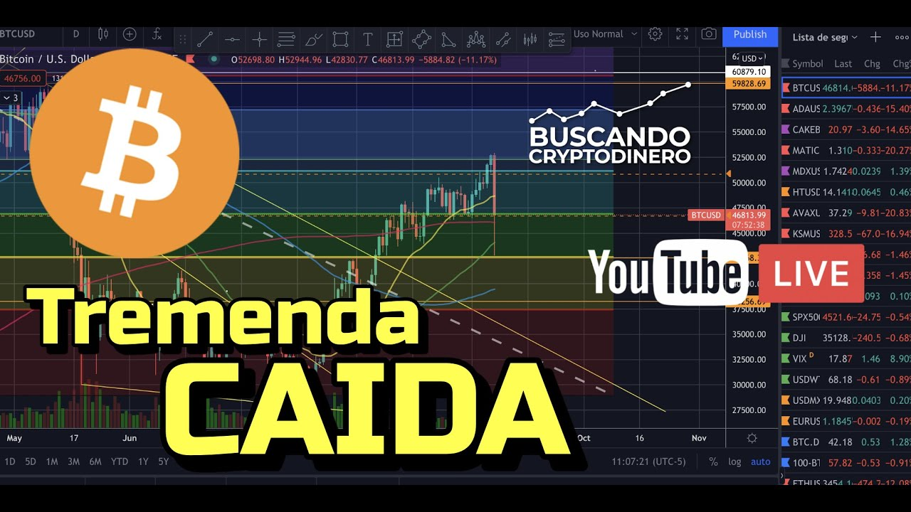 Bitcoin Caida de 52800k a 42500 ¿Que pasa??? (Youtube Live)