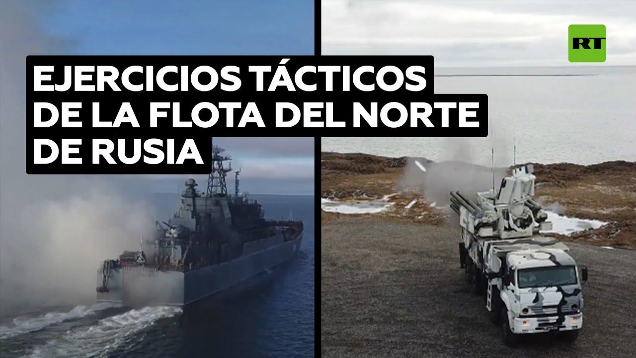 Buques de guerra rusos simulan una batalla en las remotas islas de Nueva Siberia