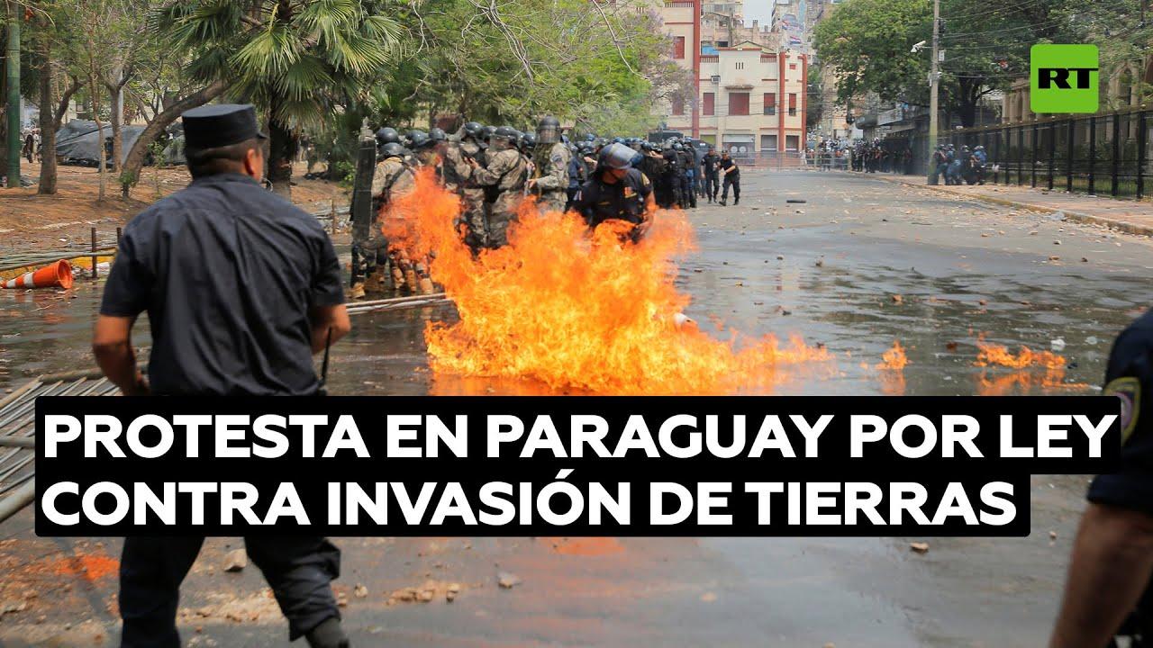 Protestan en Paraguay contra un polémico proyecto de ley que castiga la ocupación de tierras