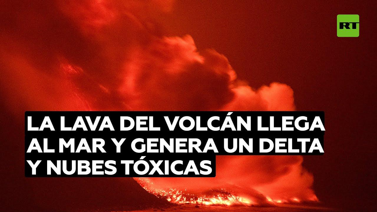 La lava del volcán de la isla de La Palma gana terreno al mar y crea un delta de 500 metros