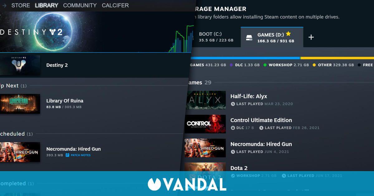 Steam mejora su página de descargas y gestión de almacenamiento