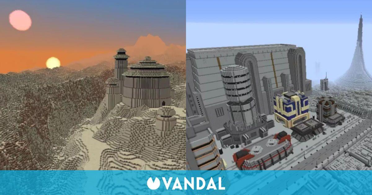 Recrean varias localizaciones icónicas de la galaxia de Star Wars en Minecraft