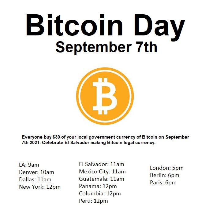 Mañana, la comunidad comprará $ 30 en BTC para respaldar la ley de Bitcoin de El Salvador