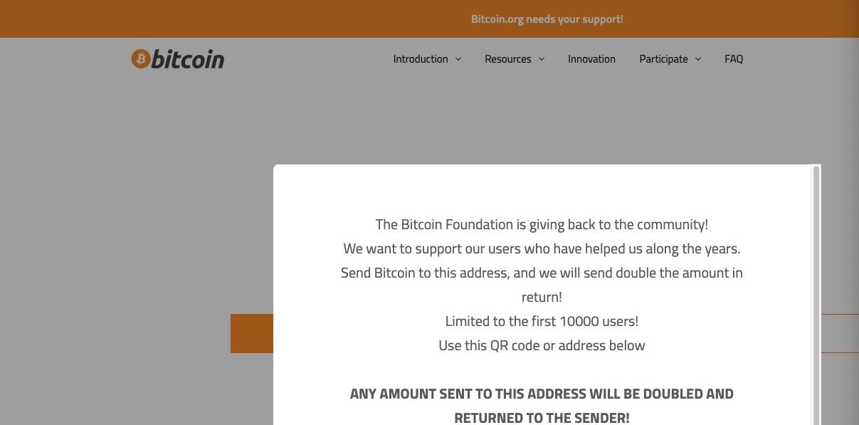 Bitcoin.org hackeado por estafadores durante unos minutos.  Alguien los envió 0.4 BTC