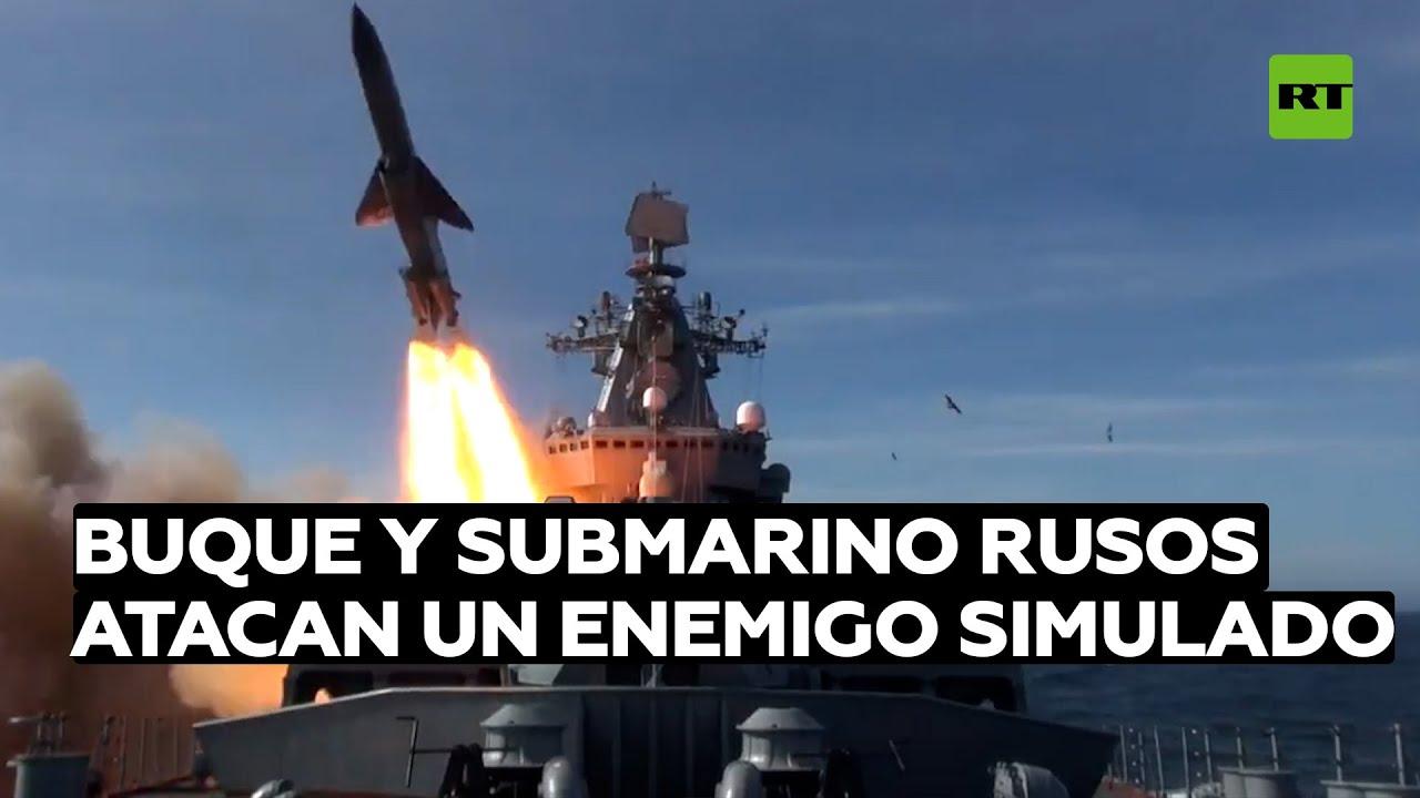Un buque y un submarino rusos eliminan con misiles de crucero un blanco que simula a nave enemiga