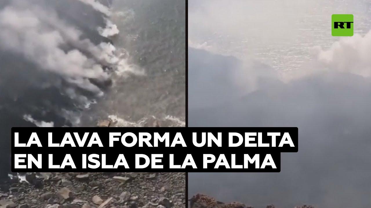 La lava forma nuevo delta en la isla de La Palma