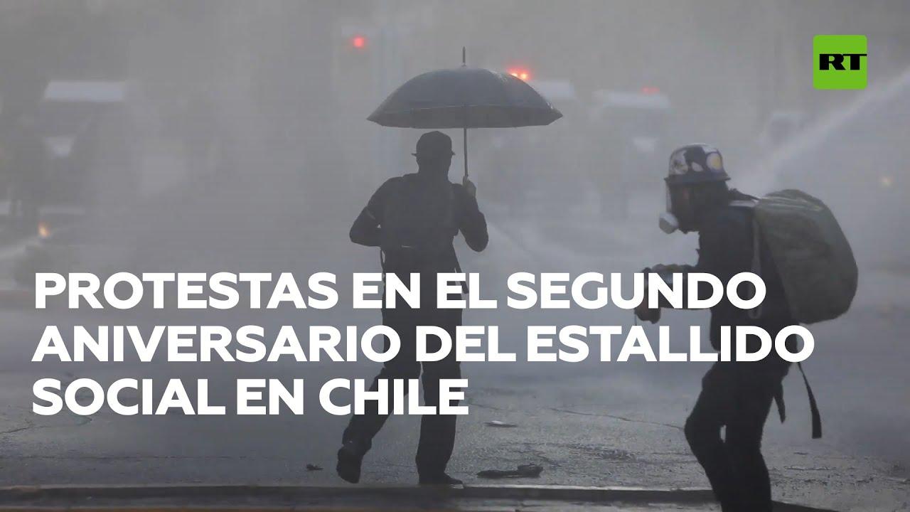 Enfrentamientos en las marchas por el segundo aniversario de las protestas en Chile