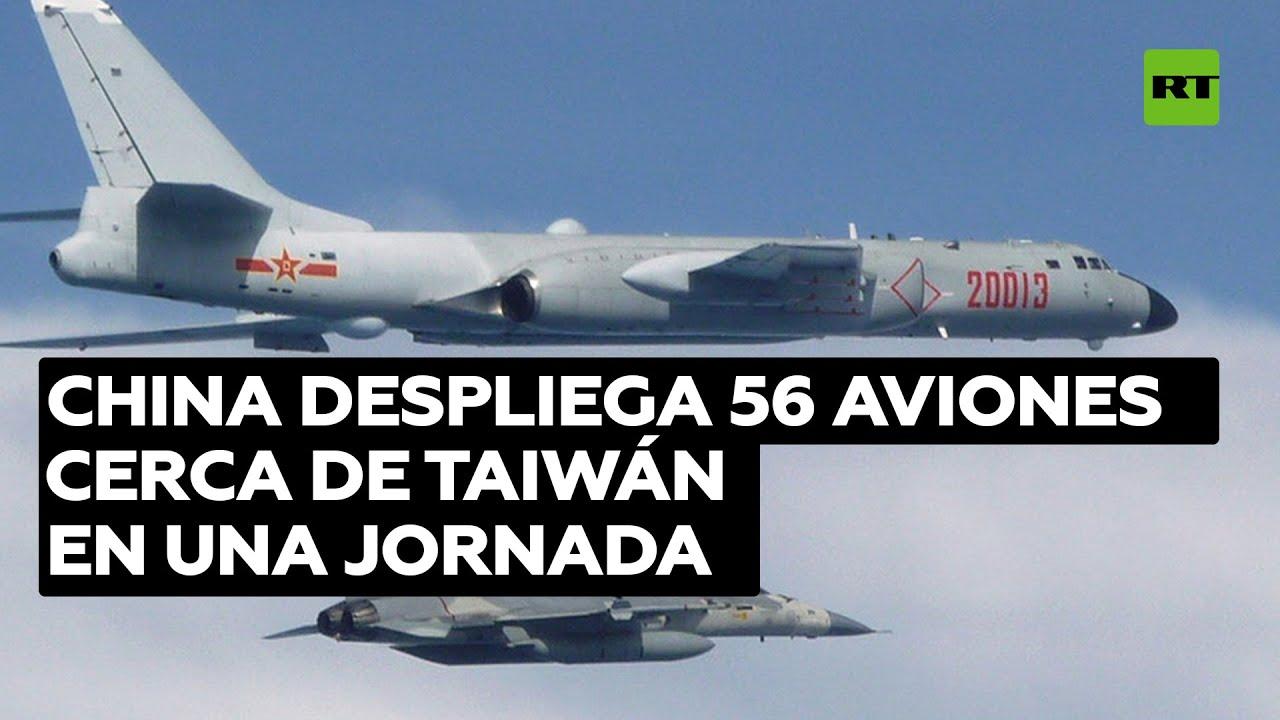 China despliega el número récord de 56 aviones cerca de Taiwán en una jornada