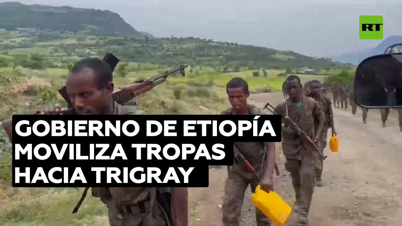 Tropas etíopes se dirigen al frente de ataque en la región de Tigray, Etiopía