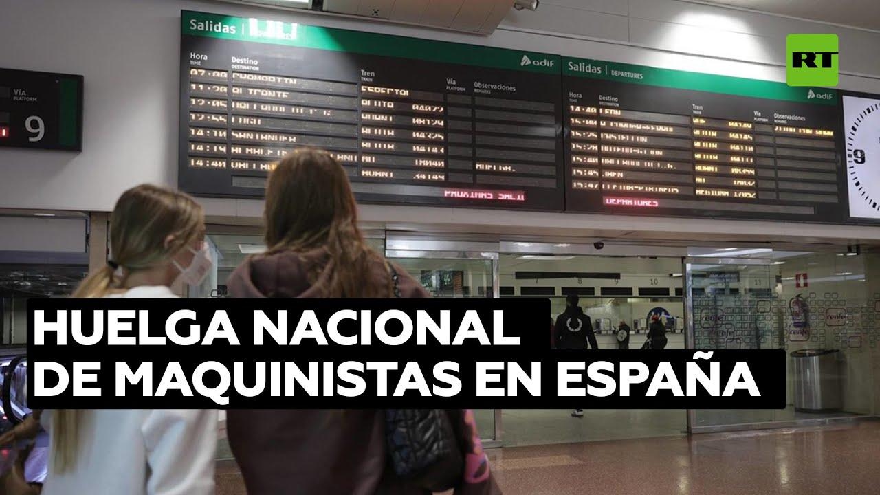 Caos y malestar entre pasajeros de España por una huelga nacional de maquinistas