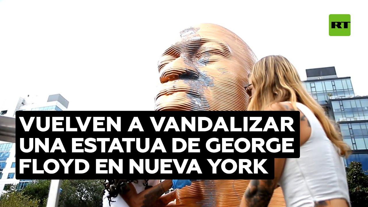 Vuelven a vandalizar una estatua de George Floyd en Nueva York