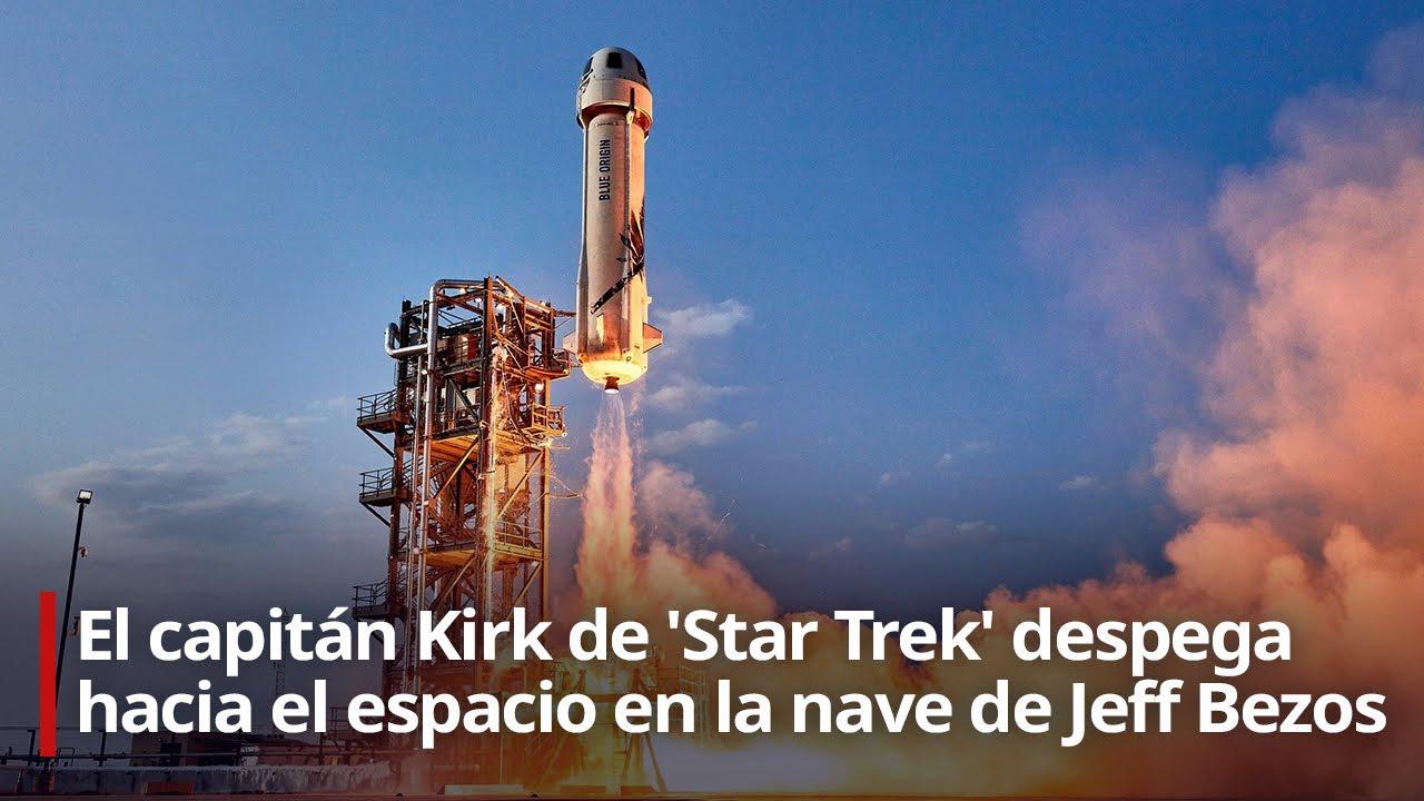 🔴 Despega la nave de Jeff Bezos que lleva al espacio al capitán Kirk de 'Star Trek'