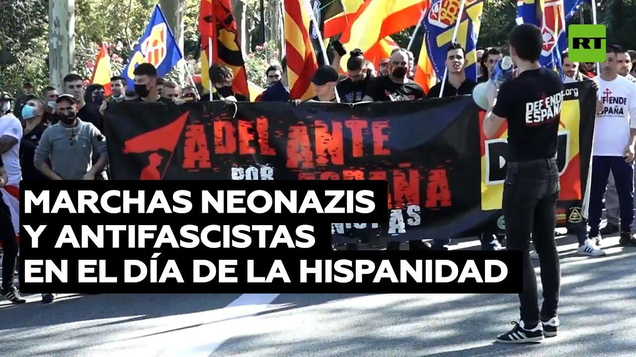 Marchas neonazis y antifascistas durante el Día de la Hispanidad