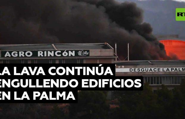 La lava arrasa edificios residenciales e industriales provocando incendios en La Palma