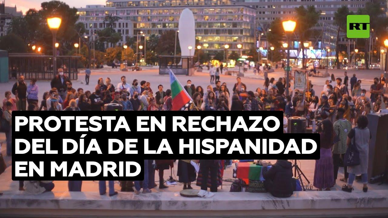 Protesta contra la colonización antes de la conmemoración del 12 de octubre