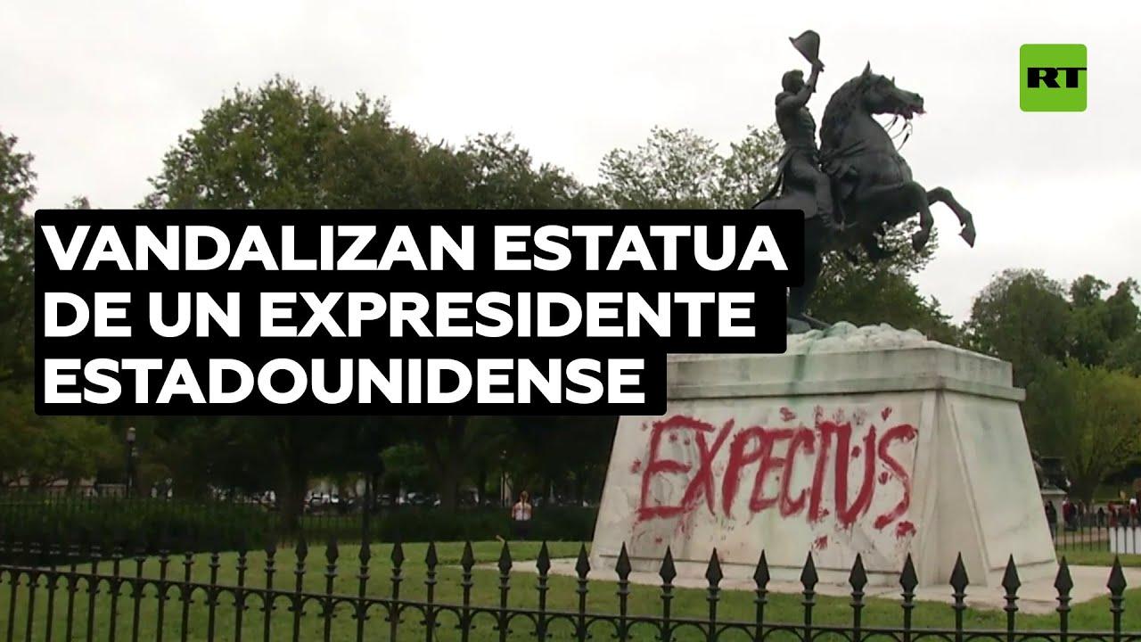 EE.UU.: Vandalizan la estatua del expresidente Andrew Jackson en Washington