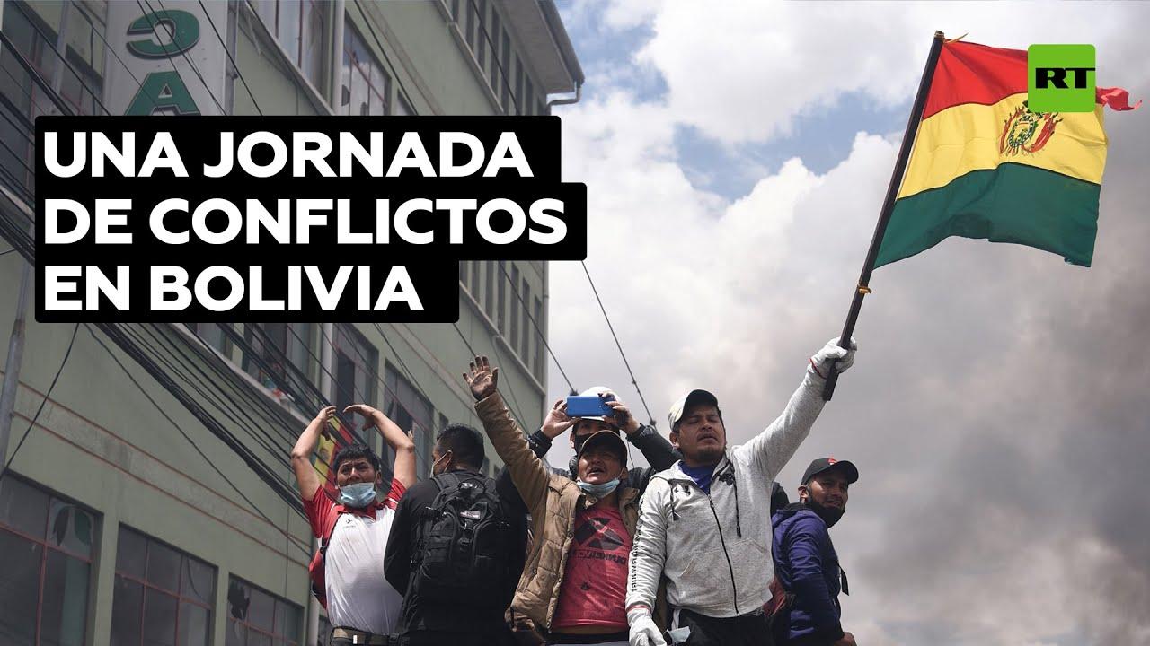 Enfrentamientos y bloqueos de vías durante las movilizaciones de la oposición en Bolivia